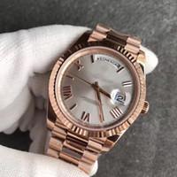 белые часы для мужчин оптовых-2019 новые горячие продажи 18 К розовое золото ремешок мужские часы день с белым лицом президент 116-719 автоматические часы мужчины бесплатная доставка