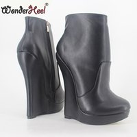 Wholesale sexy platform ankle boots - Wonderheel New matt leather extreme high heel 18cm with 3cm platform wedge ankle boots short boots fashion show sexy boots