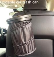 lata de lixo automática do carro venda por atacado-Latas de Lixo do carro Dobrável Suporte de Poeira de Lixo Casos de Lixo Organizador Do Carro Saco De Armazenamento Assento Resíduos Auto Interior Barril de Lixo