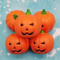 Wholesale face drawing - Halloween Smile Face Pumpkin Squishy 7cm Orange Simulation PU Cellphone Charm Slow Rebound Vegetable Squishies Hot Sale 5 5hb2 B