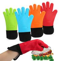 guantes de horno dedos al por mayor-Espesar guantes de silicona antideslizante herramienta de hornear para horno de microondas Anti Scald Five Fingers Glove Color puro 8 5zy B