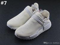 Wholesale bc black - 2018 AAA Quality Pharrell Human Race BC Blank Canvas HU Holi AC7031 Cream White Black Running Shoes With Origanal Box