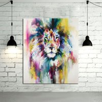Wholesale canvas wall prints lion resale online - Colorful Abstract Lion Hand Painted Modern Home Decor Abstract Animal Wall Art Oil Painting On Canvas Multi sizes a18