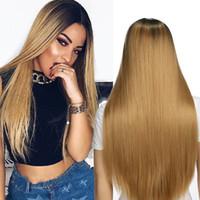 ombre saç 26 toptan satış-AISI SAÇ Uzun Düz Peruk Ombre Sarışın Saç Kadın için Koyu Kökleri Peruk Doğal Görünümlü Sentetik Elyaf Peruk