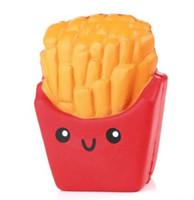 pommes frites telefon großhandel-Squishy Kartoffelchips langsam steigende Pommes Frites Stress Stress Kuchen süßes Essen Handy Strap Telefon Anhänger Schlüsselanhänger Spielzeug Geschenk