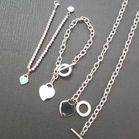 chaîne en forme achat en gros de-Femmes de luxe en forme de coeur pendentif perle chaîne bracelets 925 chaîne en argent Sterling mode cadeau Saint Valentin bijoux Bracelet