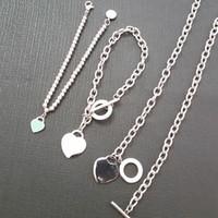 kette s geformt großhandel-Frauen Luxus herzförmigen Anhänger Perlenkette Armbänder 925 Sterling Silber Kette Mode Valentinstag Geschenk Schmuck Armband