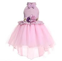 детские вуали оптовых-Кружевные свадебные платья для детей Холтер бант с шеей без рукава створки цветка Маленькие девочки вуалью Поезд ласточкин хвост платья 2-9Т дети