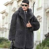 Wholesale leather jackets mink collar - Grey warm faux imitation mink rabbit fur coat mens leather jacket men coats villus suit collar winter loose thermal outerwear