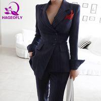 calças coreanas mulheres venda por atacado-HAGEOFLY Autunm Inverno Blazer Listrado Terno Das Mulheres de Negócios 2 Peça Ternos Coreano Fino Casaco com Calças Moda Feminina Ternos 2018