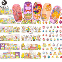 karikatür çivi çıkartmaları toptan satış-12 Tasarım Su Tırnak Sticker Paskalya DIY Karikatür Yumurta Tasarım Seti Geçici Dövmeler Renk Nail Art Çıkartması Dekorasyon İpucu SABN541-552