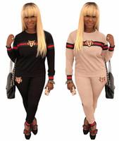 ingrosso vestito della pista di modo delle donne-3XL Fashion Two Pieces Set Donna Tigre Set completo da pista Casual Suit Abbigliamento Red Striped Long Sleeves Long Pants Femme Ladies Outfits