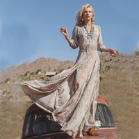 ingrosso grande vestito del bordo-Chiffon Maxi Dress Abiti lunghi estivi Donna 2018 Floral Print Multi Way Runway Abiti F2950 Big Split Hem 3/4 Sleeve