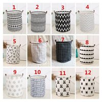 Wholesale Dirty Clothes Storage - 40*50cm Geometric Printed Canvas Storage Baskets with Handle Dirty Clothes Kids Toys Sundries Barrel Foldable Storage Container Organizer