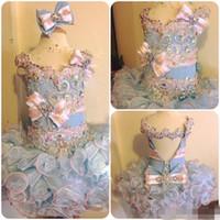 kızlar light pink pageant dress toptan satış-2019 Açık mavi ve Pembe Kız Pageant elbise Cupcake Organze Boncuklu Backless Küçük Çiçek Kız Elbise Pageant Parti Abiye