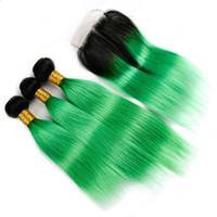 ingrosso erba verde scuro-Ombre Color Setole 3Bundles capelli lisci con chiusura in pizzo radici scure 1B verde erba capelli tesse estensioni con chiusura superiore 4x4