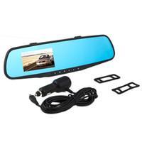 video dash car оптовых-Автомобиль DVR камера видеомагнитофон 2.8 дюймов 720p зеркало заднего вида тире Cam 120Degree угол автомобиля двойной объектив вид сзади