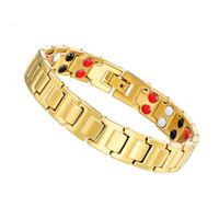ingrosso catene germanio-New Luxury Fashion Male Gift Unisex Jewelry Accessories Bracciale in oro a colori con catena Bracciale in rame germanio Bio Health Magnetic Power Bracelet