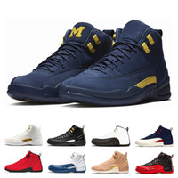 Wholesale college cotton fabric - 2018 12 12s International Flight Michigan basketball Shoes men College Navy white black bred the master Gym Red taxi sports sneakers us 8-13