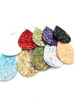 Wholesale red teardrop crystals - Sequins Teardrop Leather Earrings Faux Leather Water Drop Earring 10colors