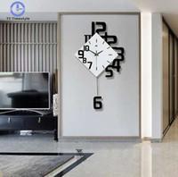 diseño deportivo de fútbol para pared al por mayor-Reloj de pared simple Estilo europeo Sala de estar Relojes de pared Moda columpio dormitorio creativo Relojes de cuarzo silencioso