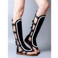 kadınlar için kahverengi düz çizmeler toptan satış-Moda Kahverengi Gladyatör Sandalet Kadınlar Flats Topuk Perçinler Elbise Ayakkabı Kadın Uzun Motosiklet Sandalet Çizmeler Yaz Gerçek Deri Patik
