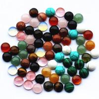 mücevher yapma taşları toptan satış-LOTS 8 MM 12 MM Doğal Taş Yuvarlak CAB Kabaşon Turkuaz Pembe Kristal Takılar Taş Boncuk Yüzük Kolye Takı Yapımı DIY Boncuk