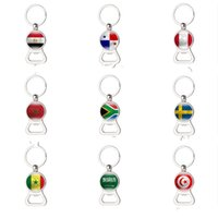 Wholesale hand bottle openers - 2018 Russia FIFA World Cup Bottle Opener Hand Made Electroplate Corkscrew Wear Resistant Keychain Openers Popular 4 2xm Y