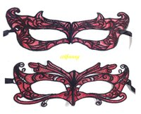 Wholesale sexy fox mask resale online - 100pcs Red Fox Hard Lace Mask Party Ball mask Halloween Carnaval Masquerade sexy Lady masks