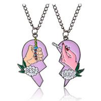 Wholesale Hearts Necklace Pendants Couple - Enamel Best Buds Cigarettes Lighter Necklace Enamel Puzzle Broken Heart Pendant Couple Necklace Fashion Jewelry for Women Drop shipping