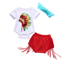 Wholesale indian outfits - Baby clothes for girls 3Pcs Newborn Infant Baby Indian Print Romper Shorts Headband Summer Short Sleeve Outfits Clothes Set 2018