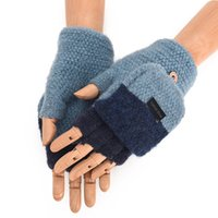 ingrosso set a maglia a mano-Mens Winter Warm Thickening Wool Knitted Flip Fingerless Exposed Finger Guanti spessi Mezze dita Mittens Set di mani