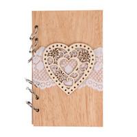 ingrosso legno del notebook-Matrimonio Guest Signature Books Coppia di legno Notebook Vintage Lasercut Legno Gazzetta Wedding Decorationheart Notebook in legno