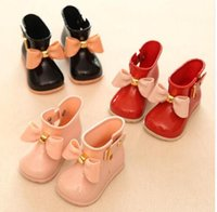 Wholesale Mini Court - Hot sale MINI SED lovely bowtie princess kids girls rain boots Antiskid bottom children jelly shoes waterproof outdoor boot