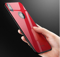 Wholesale Glass Fluorescence - Tempered Glass Back Cover Shockproof Protective Hard PC Soft TPU Bumper Case For iPhone X 6 7 8 Plus