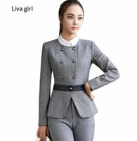 ingrosso usura delle signore-Pantaloni da donna d'affari di moda primavera abiti da cerimonia manica lunga formale doppio petto sottile giacca e pantaloni da ufficio abbigliamento da lavoro donna