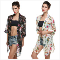 Wholesale sun protection clothing women online - Sexy Women Summer Rash Guards Floral Print Chiffon Long Sleeve Cardigan Women Blouse Sun Protection Pregnant Maternity Clothes Tops Colors