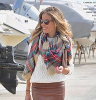 ingrosso beige sciarpe di moda di controllo-11 Colore Donna Sciarpe scozzesi morbide Scollo check oversize Sciarpa scozzese Copricapo invernale