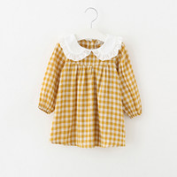 Wholesale cotton bud wholesale for sale - 2018 Ins style new arrivals Girls Lovely dress ruffles collar long sleeve plaid print dress cotton girl kids elegant ins dress