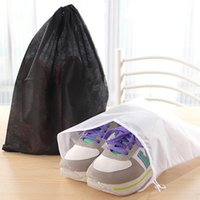 Wholesale Travel Shoe Storage Pouches - Non Woven Fabric Drawstring Bag Resuable Square Shoes Clothes Storage Bags Breathable Easy To Carry Travel Pouch White Black 0 54jm B