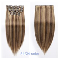 Wholesale fine human hair - Best Human Hair Extensions Clip in P4 27 color 18 inch 150g set Remy Straight Real Hair for Fine Hair Full Head