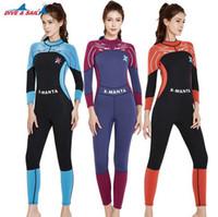 4d4bc1427f9d6 DIVE SAIL 3mm Neoprene Women Zipper Full Body Patchwork Wetsuit One-piece  Winter Warm Swimsuit Jumpsuit Diving Scuba Surfing Suit