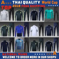 Wholesale Men S Training Pants - hot selling 2018 world cup france germany spain brazil soccer tracksuit chandal Survetement football Tracksuit training suit skinny pants