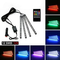 Wholesale blue interior light strip - HEHEMM 4pcs USB Car Interior Music Control RGB Strip Light Flexible Atmosphere Kit Lamp Decorative Light SMD5050 with Remote Controller