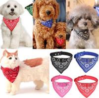 Wholesale leather bandana dog collar - Dog Triangle Saliva Towel Puppy Napkin Neck Scarf Bandana with Leather Collar Neckerchief Adjustable Puppy Cat Scarf 5 Sizes EEA333