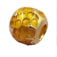Wholesale make honey - 2018 Spring New Authentic 925 Sterling Silver Golden Honey Charm Beads Fit Original Pandora Brand Charms Bracelet DIY Jewelry Making