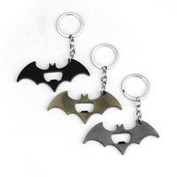 Wholesale two rings balls - Trendy Silver Plated Alloy children bat Batman KeyChain two uses Dual purpose Opener KeyChain bat Batman Key chain Ring Pendant 2018 y086