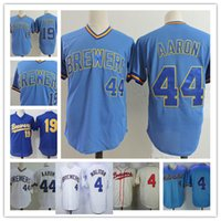 Wholesale robin baseball - Mens white 1981 PAUL MOLITOR Throwback Jerseys Stitched Blue Pullover 44 Hank Aaron #19 ROBIN YOUNT Cooperstown baseball Jersey S-3XL