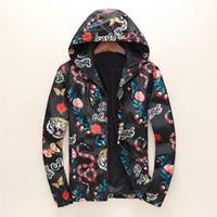 ingrosso famose trincee-Rivestimento di modo Windbreaker manica lunga Mens Jackets Hoodie Abbigliamento Zipper con animale della lettera del modello Plus Size Clothes M-3XL