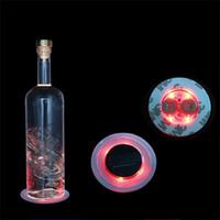 destellando vasos al por mayor-Led Flashing Bottle Coaster Sticker para bebidas vasos Night Lights Club Beer Party Decor Three Gear Switch Bar Suministros 3hz ii